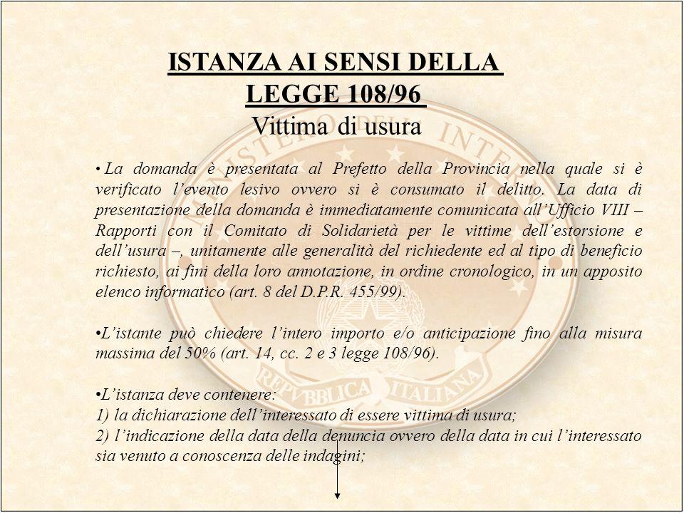 ISTANZA AI SENSI DELLA LEGGE 108/96