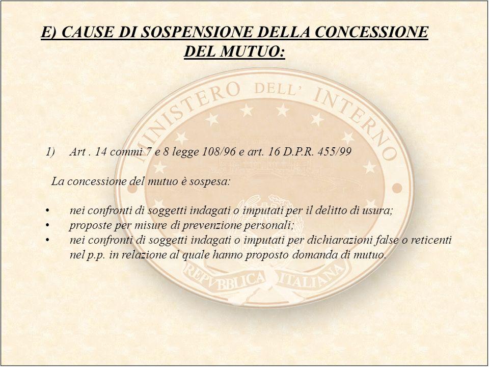 E) CAUSE DI SOSPENSIONE DELLA CONCESSIONE