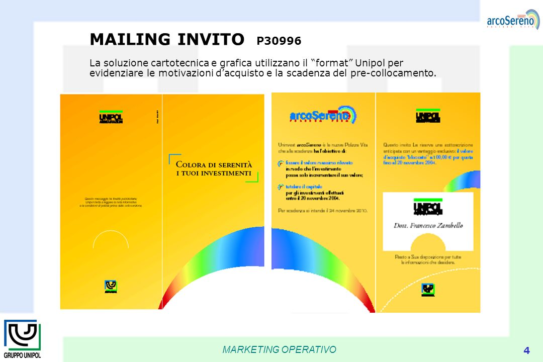 MAILING INVITO P30996 La soluzione cartotecnica e grafica utilizzano il format Unipol per evidenziare le motivazioni d'acquisto e la scadenza del pre-collocamento.
