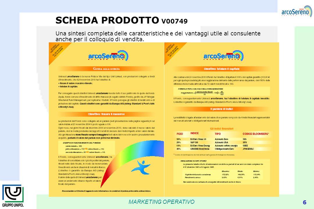 SCHEDA PRODOTTO V00749 Una sintesi completa delle caratteristiche e dei vantaggi utile al consulente anche per il colloquio di vendita.