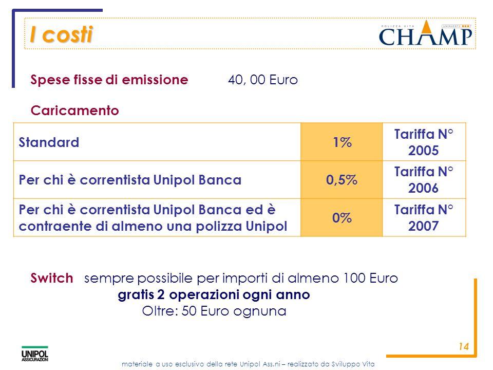 I costi Spese fisse di emissione 40, 00 Euro Caricamento Standard 1%