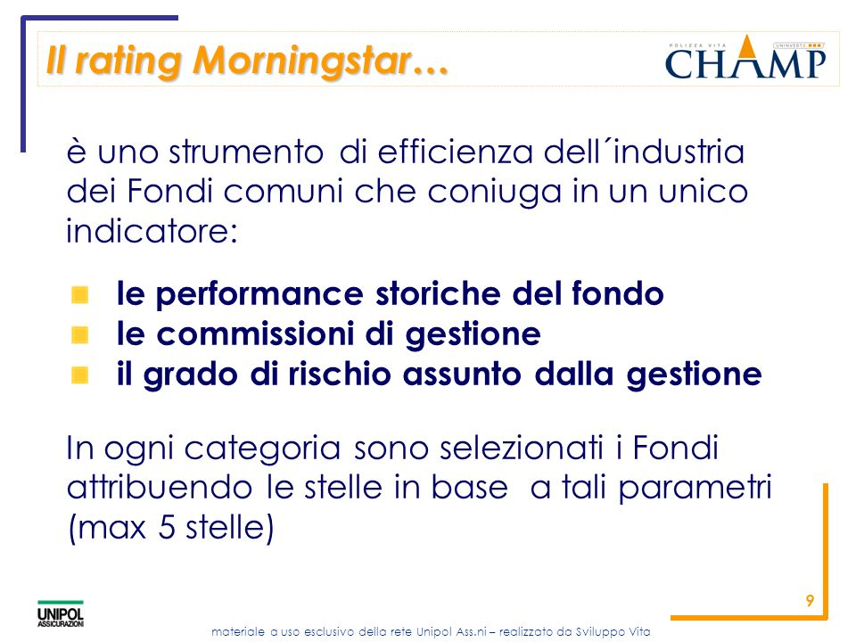 Il rating Morningstar…