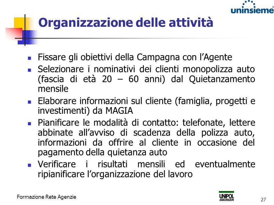 Organizzazione delle attività