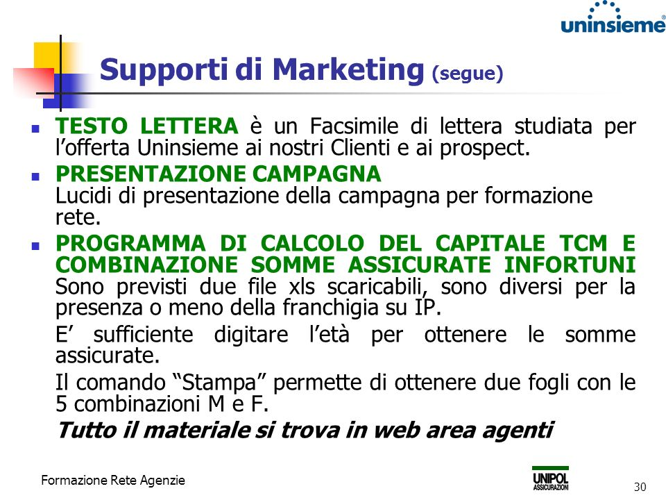 Supporti di Marketing (segue)
