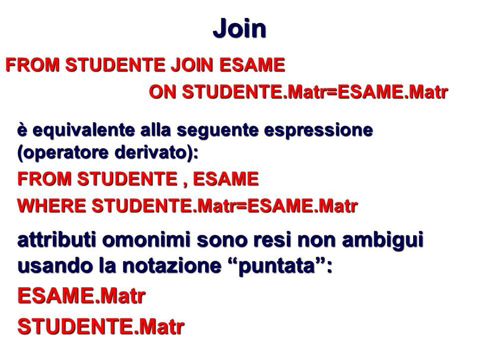 Join FROM STUDENTE JOIN ESAME. ON STUDENTE.Matr=ESAME.Matr. è equivalente alla seguente espressione (operatore derivato):