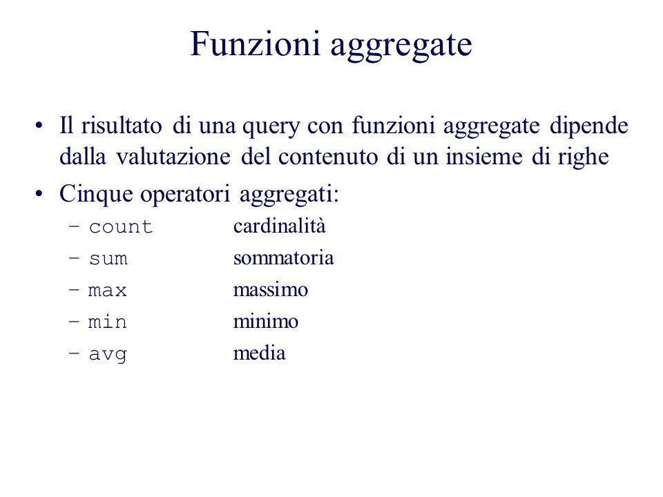Funzioni aggregate Il risultato di una query con funzioni aggregate dipende dalla valutazione del contenuto di un insieme di righe.