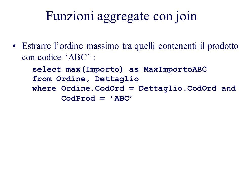 Funzioni aggregate con join