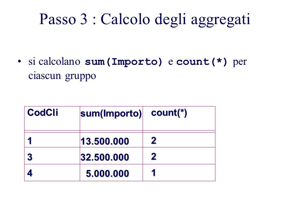 Passo 3 : Calcolo degli aggregati