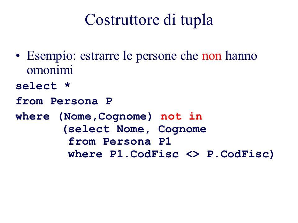 Costruttore di tupla Esempio: estrarre le persone che non hanno omonimi. select * from Persona P.