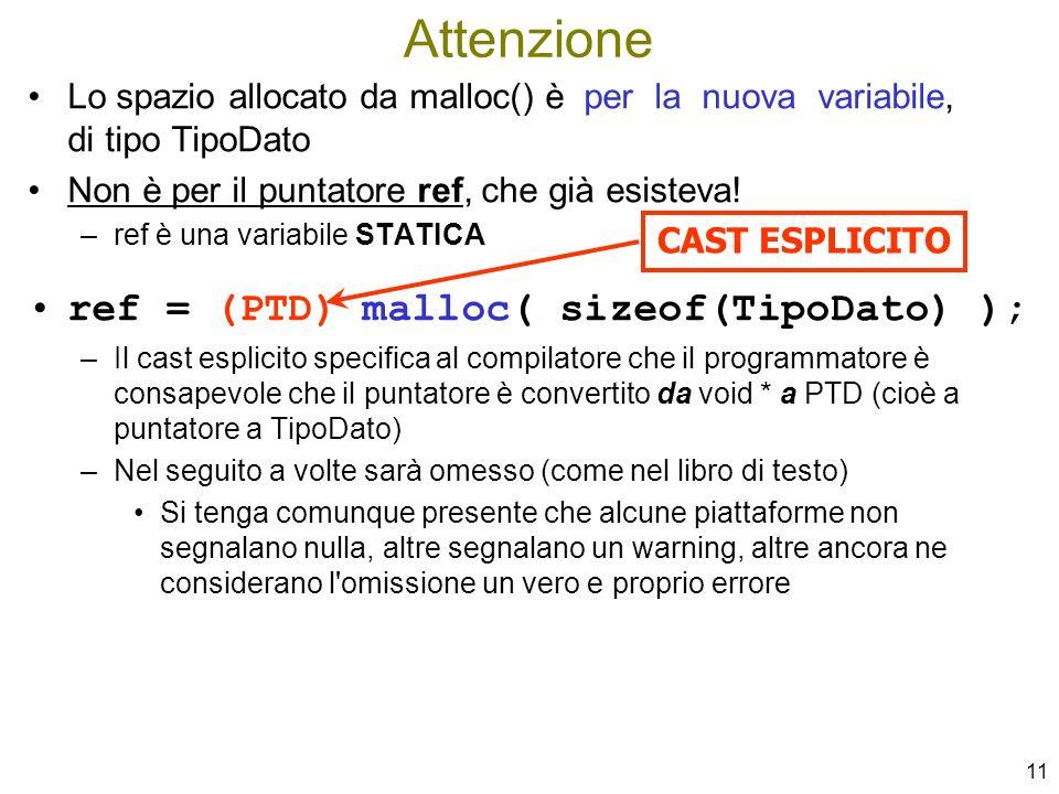 Attenzione ref = (PTD) malloc( sizeof(TipoDato) );