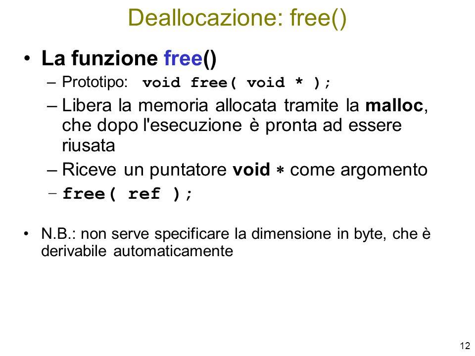 Deallocazione: free()