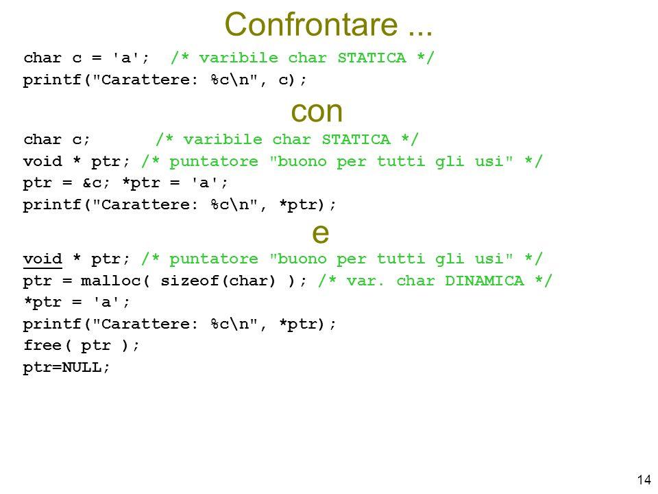Confrontare ... con e char c = a ; /* varibile char STATICA */
