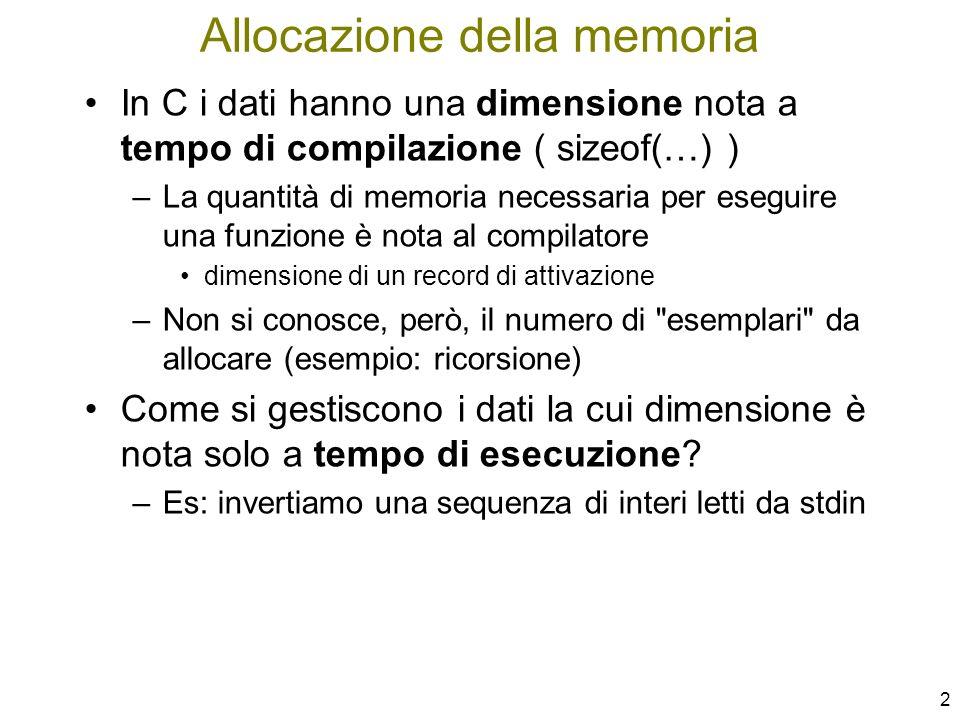 Allocazione della memoria
