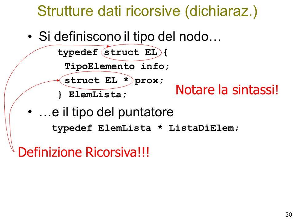 Strutture dati ricorsive (dichiaraz.)