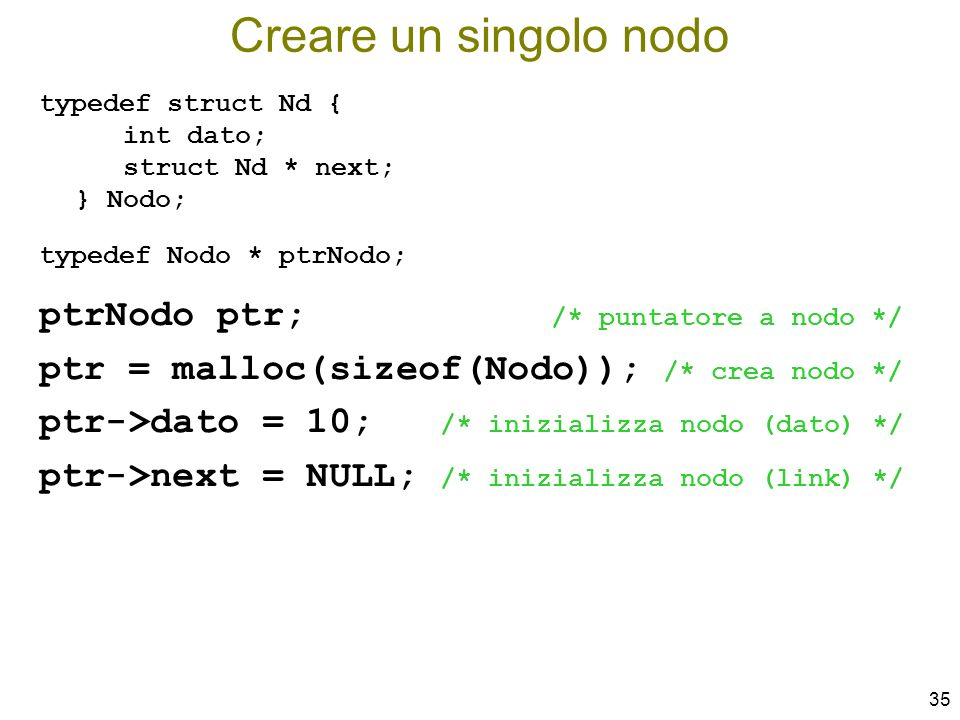 Creare un singolo nodo ptrNodo ptr; /* puntatore a nodo */
