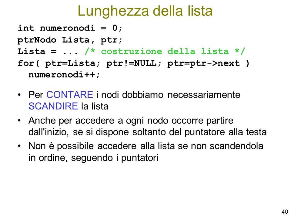 Lunghezza della lista int numeronodi = 0; ptrNodo Lista, ptr; Lista = ... /* costruzione della lista */
