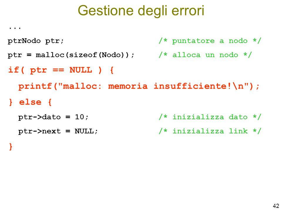Gestione degli errori if( ptr == NULL ) {