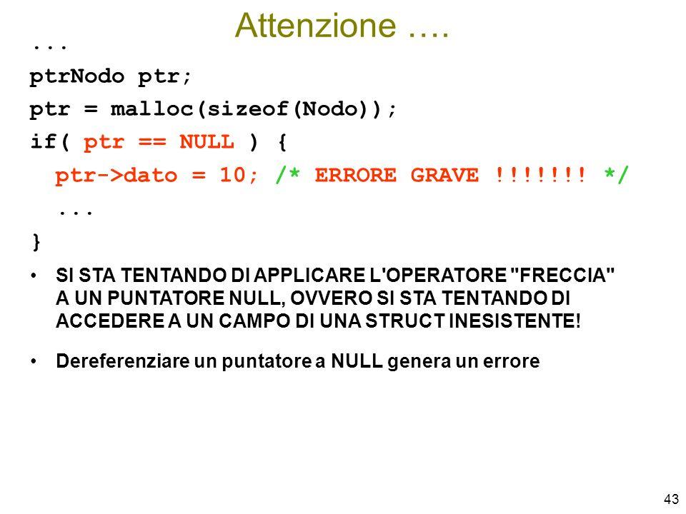 Attenzione …. ... ptrNodo ptr; ptr = malloc(sizeof(Nodo));