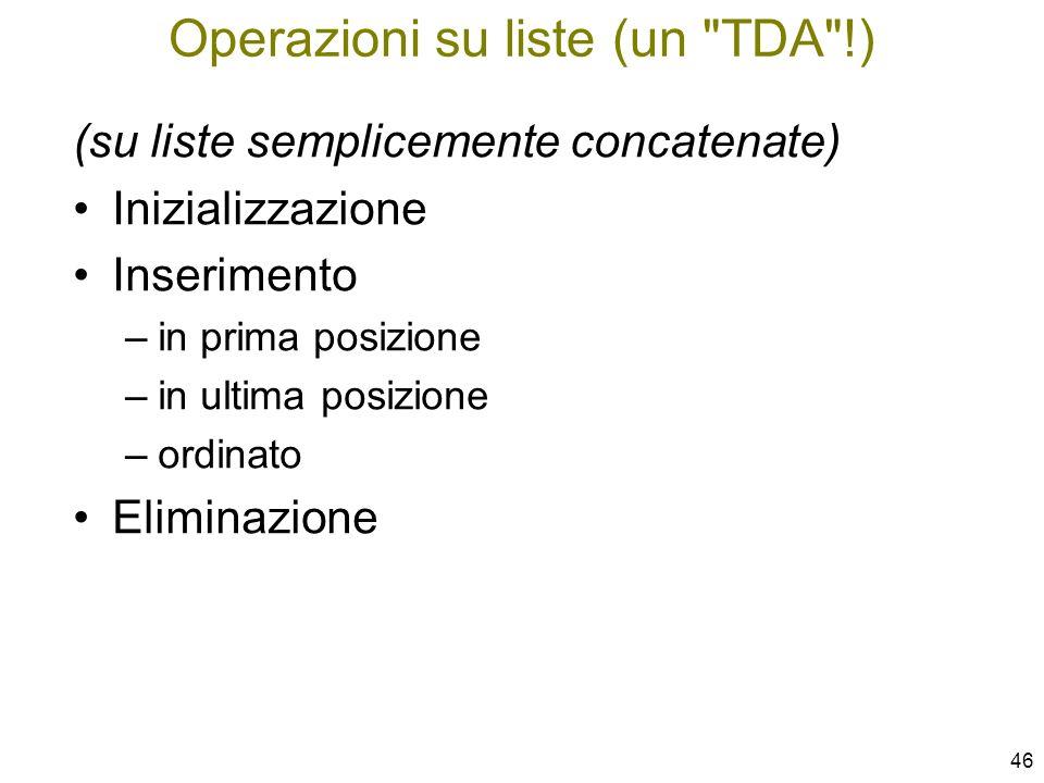 Operazioni su liste (un TDA !)