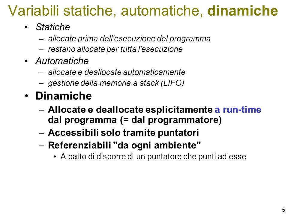 Variabili statiche, automatiche, dinamiche