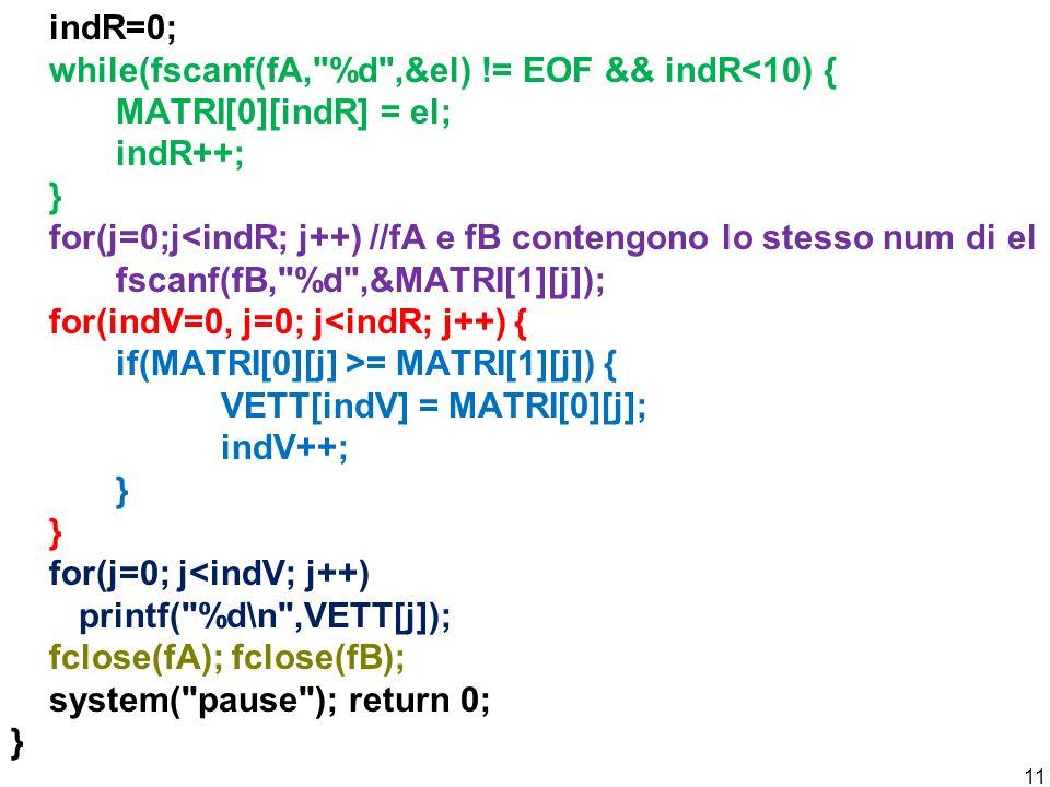indR=0; while(fscanf(fA, %d ,&el)