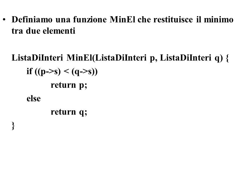 Definiamo una funzione MinEl che restituisce il minimo tra due elementi