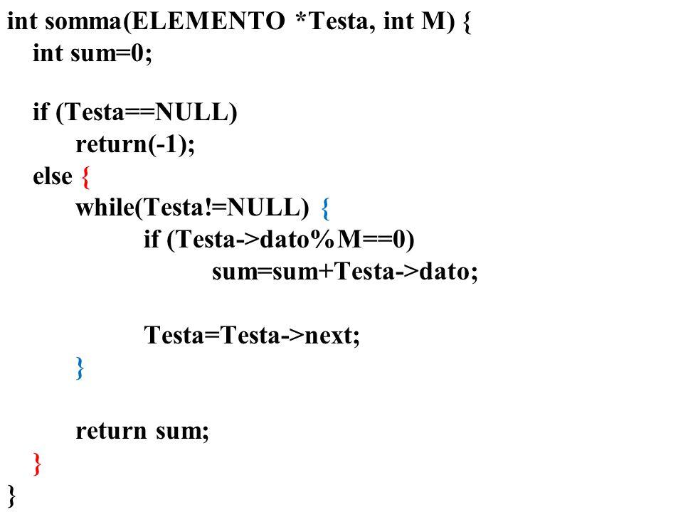 int somma(ELEMENTO *Testa, int M) { int sum=0; if (Testa==NULL)