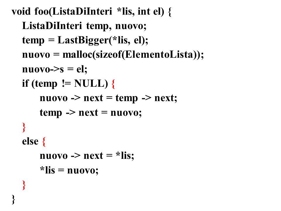 void foo(ListaDiInteri *lis, int el) {