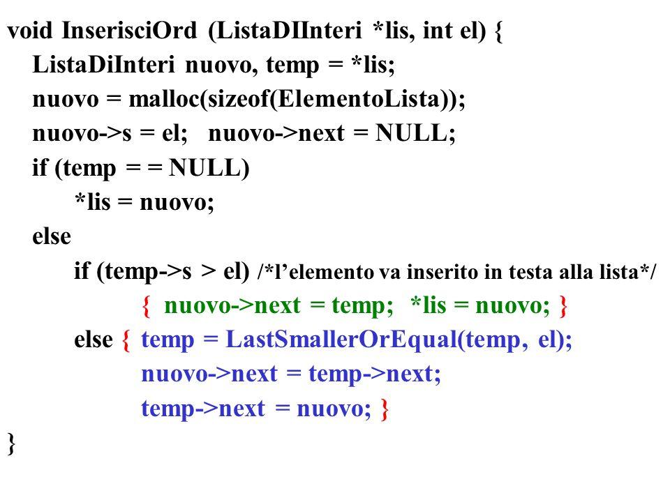 void InserisciOrd (ListaDIInteri *lis, int el) {