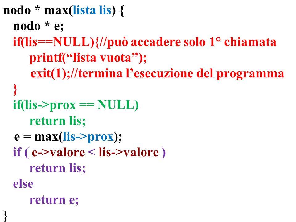 nodo * max(lista lis) { nodo * e; if(lis==NULL){//può accadere solo 1° chiamata. printf( lista vuota );