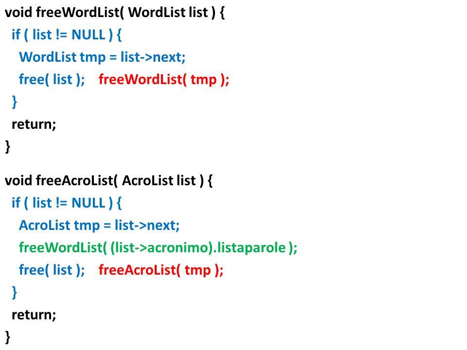 void freeWordList( WordList list ) { if ( list