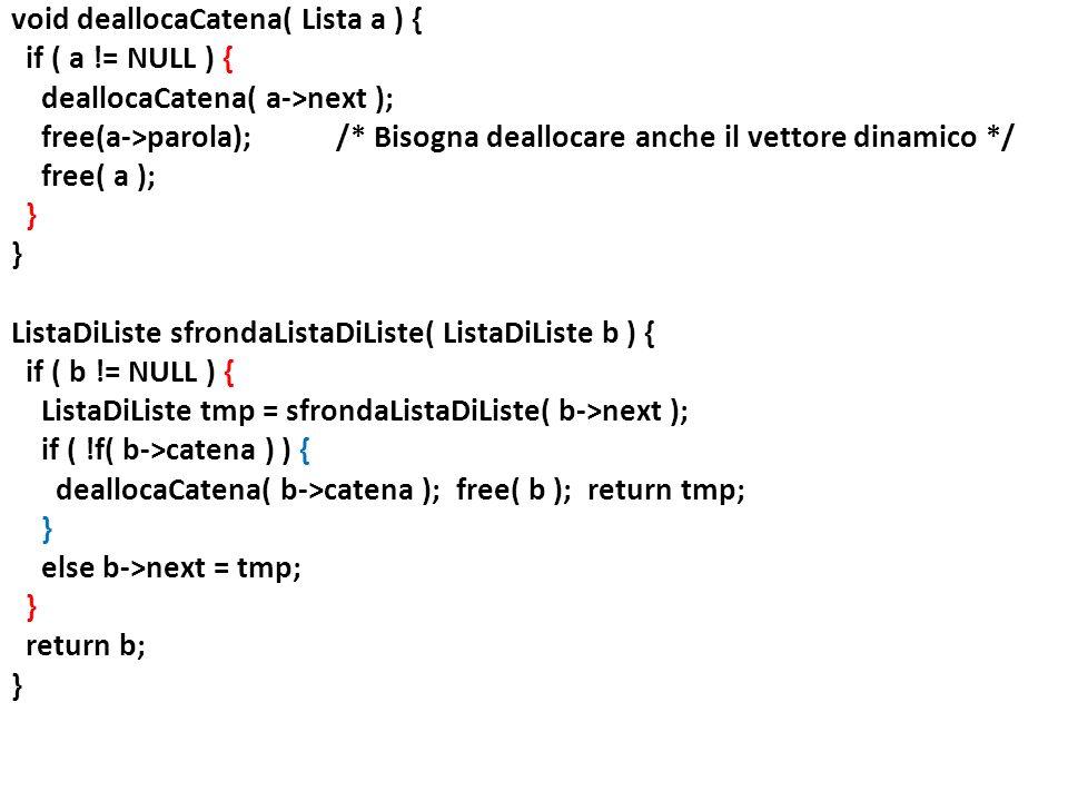 void deallocaCatena( Lista a ) { if ( a
