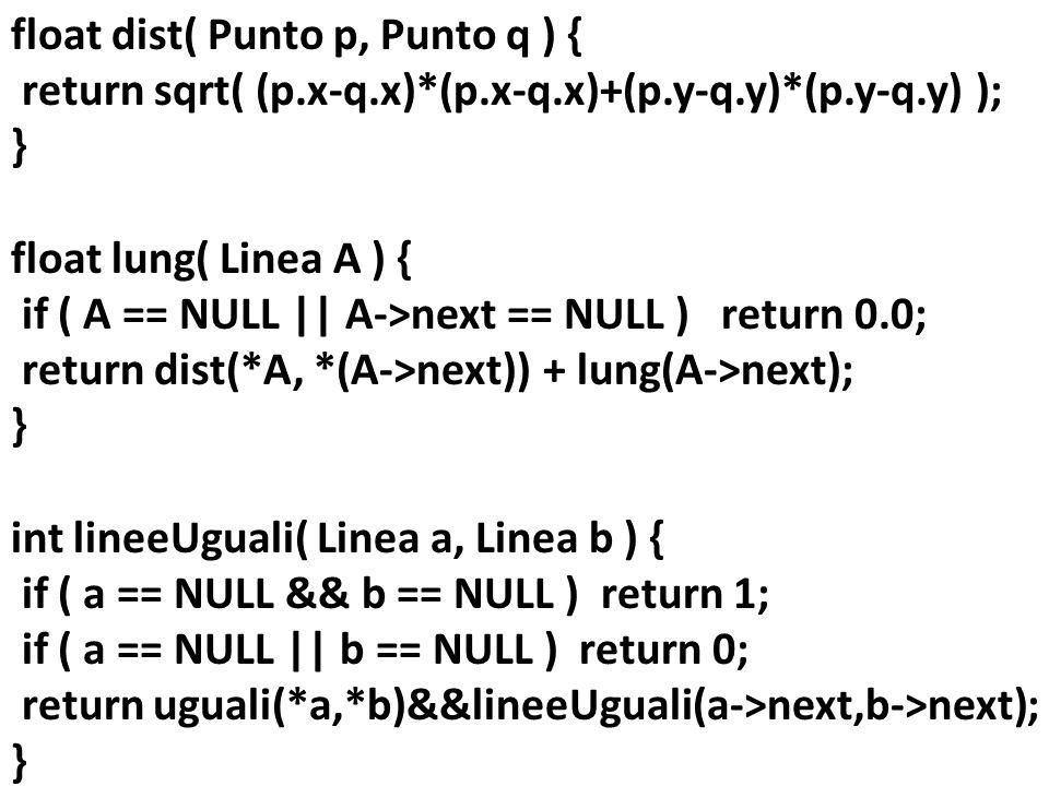 float dist( Punto p, Punto q ) { return sqrt( (p. x-q. x). (p. x-q