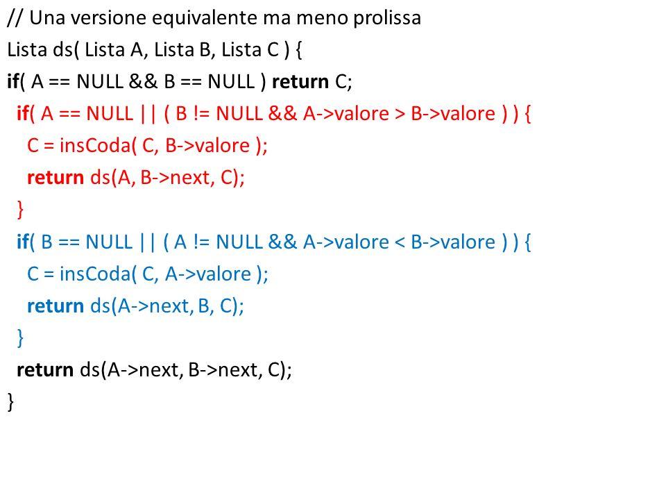 // Una versione equivalente ma meno prolissa Lista ds( Lista A, Lista B, Lista C ) { if( A == NULL && B == NULL ) return C; if( A == NULL || ( B != NULL && A->valore > B->valore ) ) { C = insCoda( C, B->valore ); return ds(A, B->next, C); } if( B == NULL || ( A != NULL && A->valore < B->valore ) ) { C = insCoda( C, A->valore ); return ds(A->next, B, C); return ds(A->next, B->next, C);