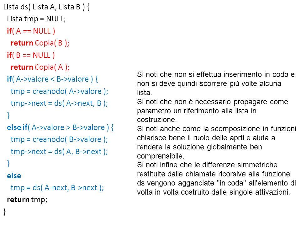 Lista ds( Lista A, Lista B ) { Lista tmp = NULL; if( A == NULL ) return Copia( B ); if( B == NULL ) return Copia( A ); if( A->valore < B->valore ) { tmp = creanodo( A->valore ); tmp->next = ds( A->next, B ); } else if( A->valore > B->valore ) { tmp = creanodo( B->valore ); tmp->next = ds( A, B->next ); else tmp = ds( A-next, B->next ); return tmp;