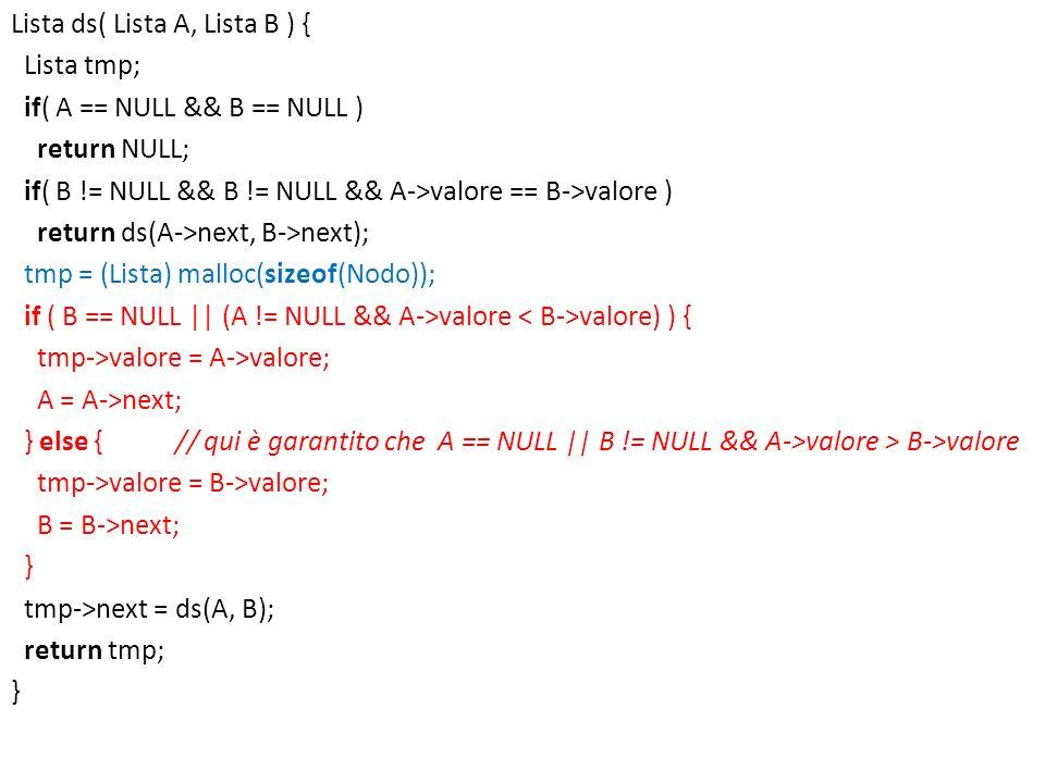 Lista ds( Lista A, Lista B ) { Lista tmp; if( A == NULL && B == NULL ) return NULL; if( B != NULL && B != NULL && A->valore == B->valore ) return ds(A->next, B->next); tmp = (Lista) malloc(sizeof(Nodo)); if ( B == NULL || (A != NULL && A->valore < B->valore) ) { tmp->valore = A->valore; A = A->next; } else { // qui è garantito che A == NULL || B != NULL && A->valore > B->valore tmp->valore = B->valore; B = B->next; } tmp->next = ds(A, B); return tmp;