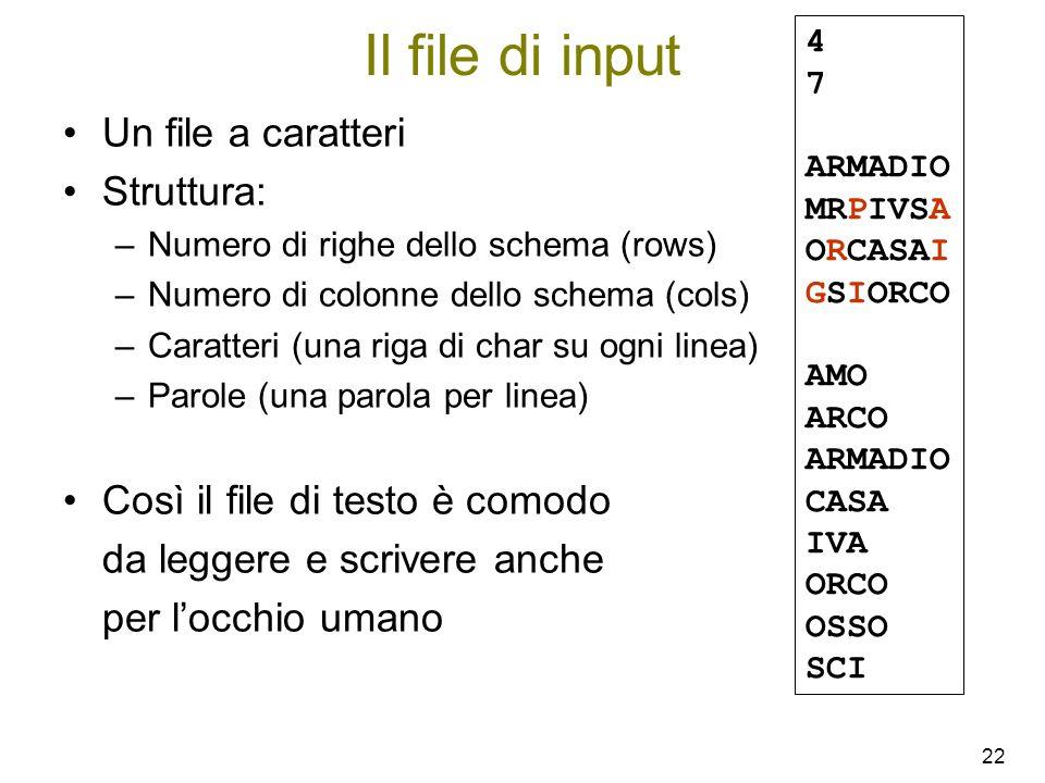 Il file di input Un file a caratteri Struttura: