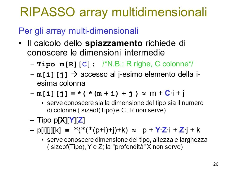 RIPASSO array multidimensionali