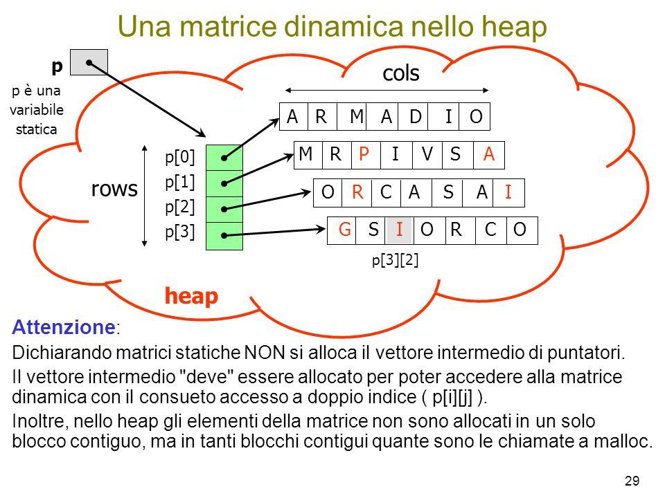 Una matrice dinamica nello heap