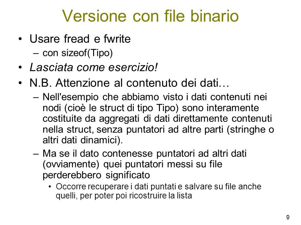 Versione con file binario