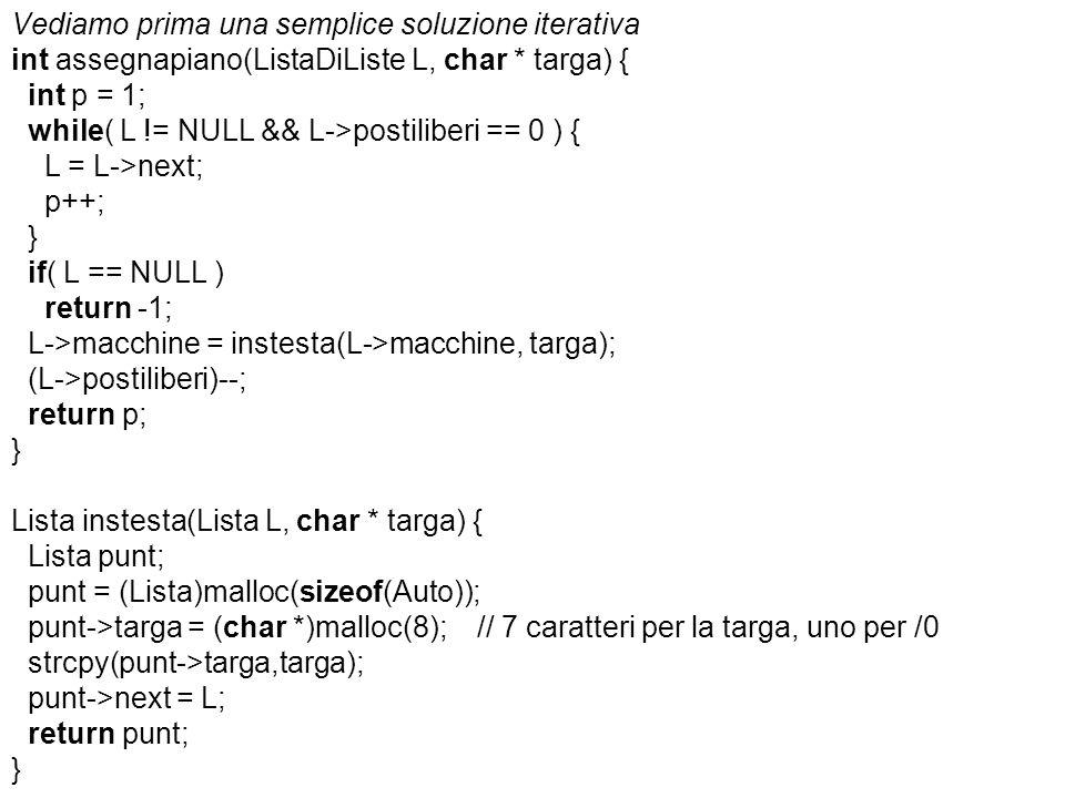 Vediamo prima una semplice soluzione iterativa int assegnapiano(ListaDiListe L, char * targa) { int p = 1; while( L != NULL && L->postiliberi == 0 ) { L = L->next; p++; } if( L == NULL ) return -1; L->macchine = instesta(L->macchine, targa); (L->postiliberi)--; return p; Lista instesta(Lista L, char * targa) { Lista punt; punt = (Lista)malloc(sizeof(Auto)); punt->targa = (char *)malloc(8); // 7 caratteri per la targa, uno per /0 strcpy(punt->targa,targa); punt->next = L; return punt;