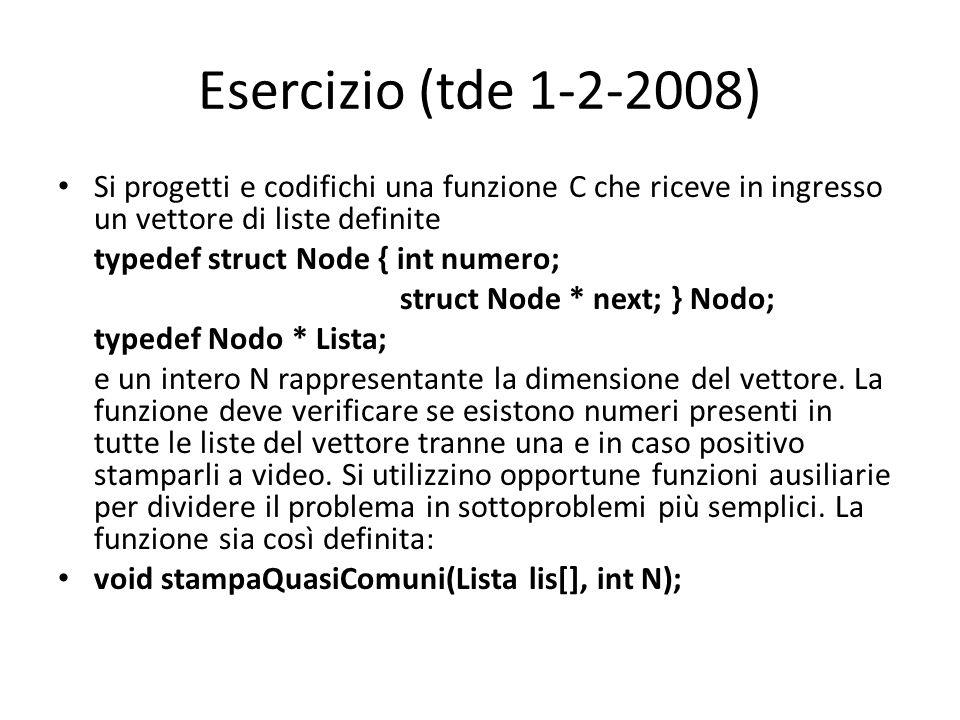 Esercizio (tde 1-2-2008) Si progetti e codifichi una funzione C che riceve in ingresso un vettore di liste definite.