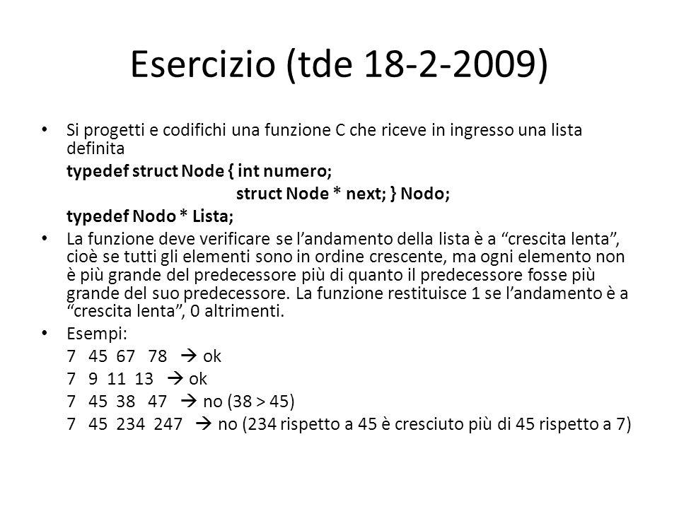 Esercizio (tde 18-2-2009) Si progetti e codifichi una funzione C che riceve in ingresso una lista definita.