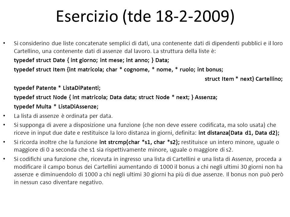 Esercizio (tde 18-2-2009)
