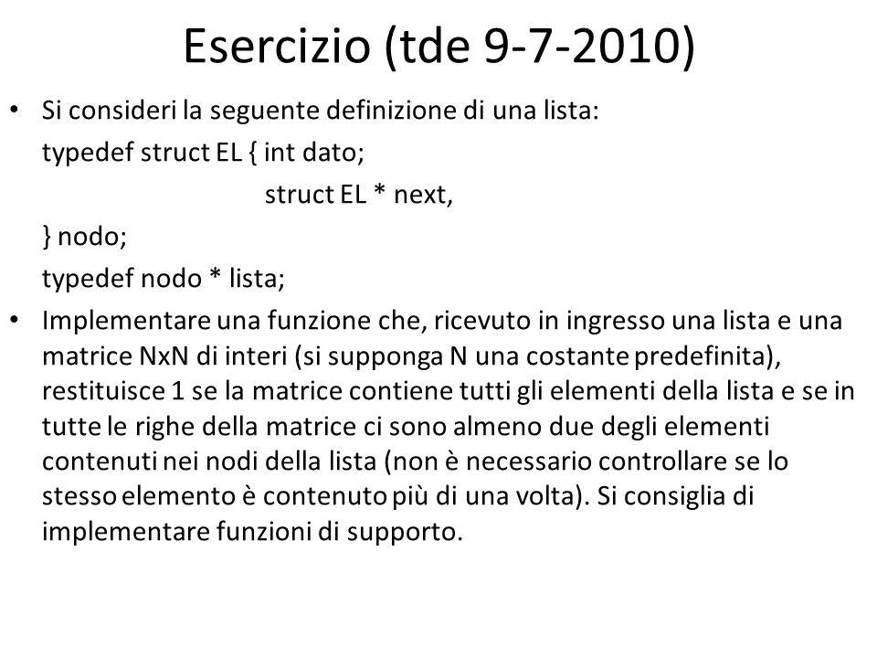 Esercizio (tde 9-7-2010) Si consideri la seguente definizione di una lista: typedef struct EL { int dato;