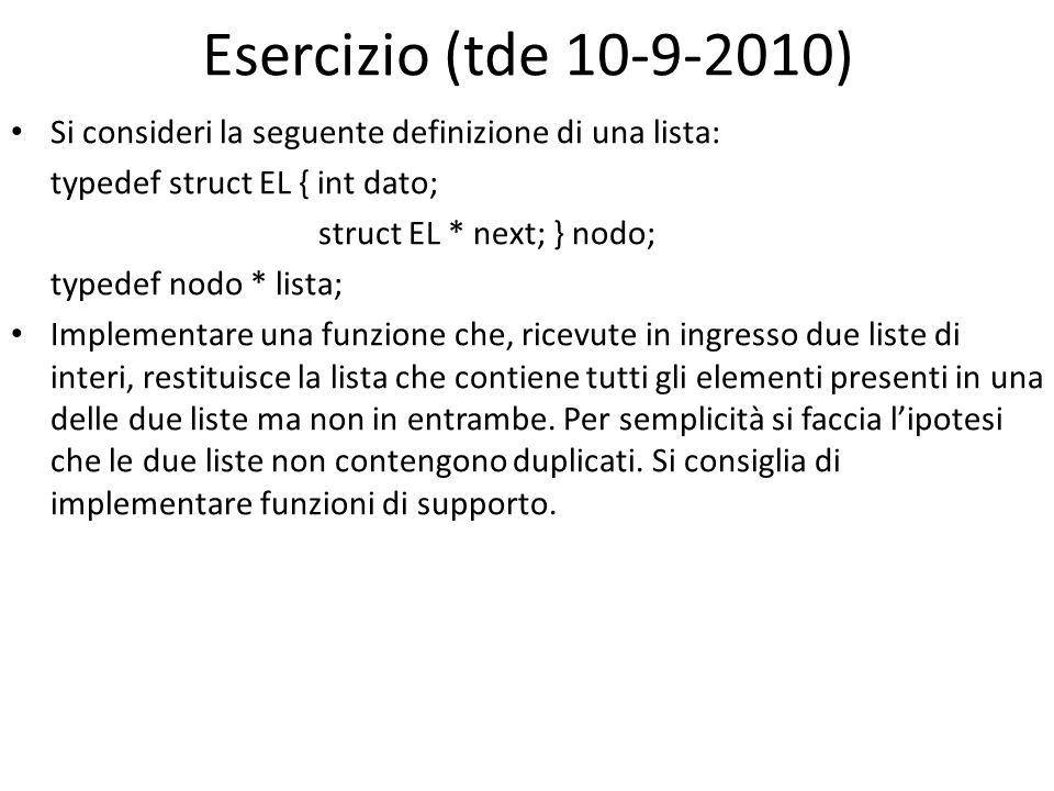 Esercizio (tde 10-9-2010) Si consideri la seguente definizione di una lista: typedef struct EL { int dato;