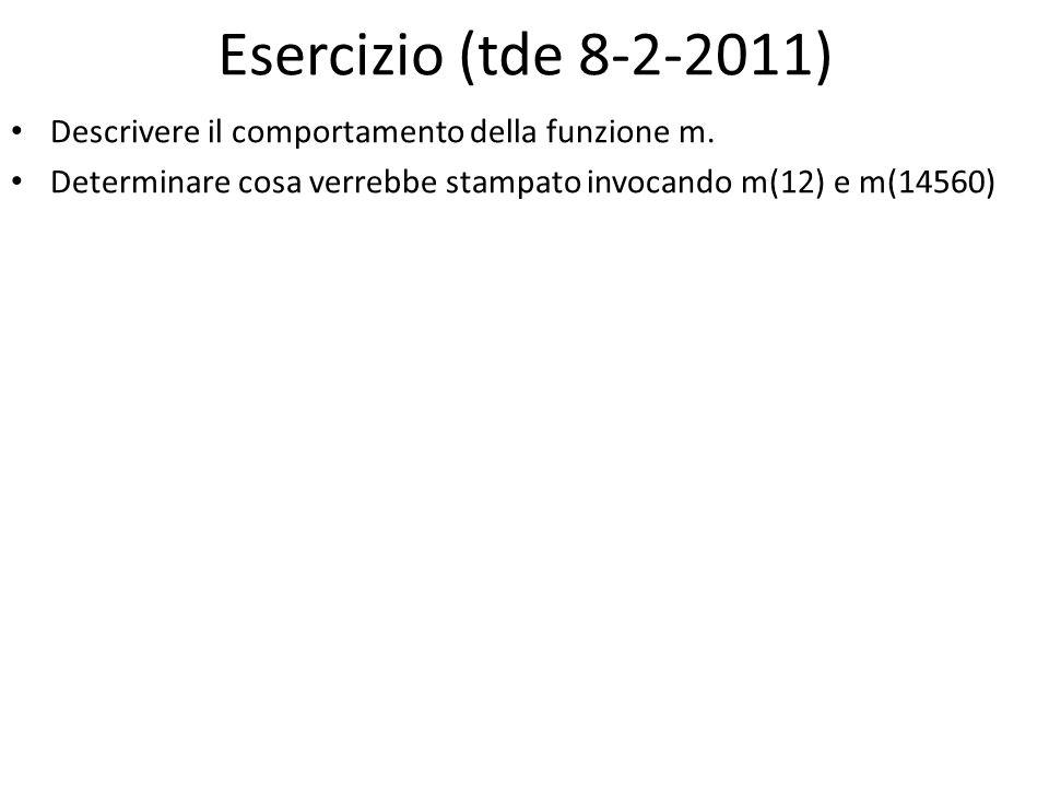 Esercizio (tde 8-2-2011) Descrivere il comportamento della funzione m.
