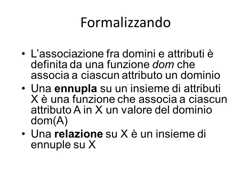 Formalizzando L'associazione fra domini e attributi è definita da una funzione dom che associa a ciascun attributo un dominio.