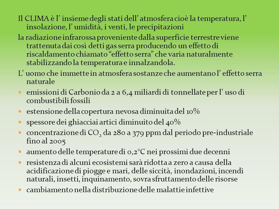 Il CLIMA è l' insieme degli stati dell' atmosfera cioè la temperatura, l' insolazione, l' umidità, i venti, le precipitazioni