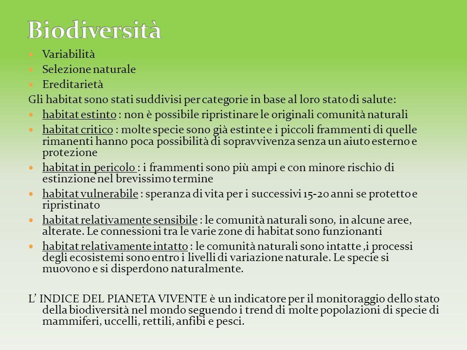 Biodiversità Variabilità Selezione naturale Ereditarietà